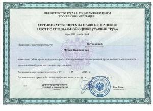 сертификат Литюшкина